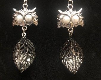 Leaf Owl Earrings