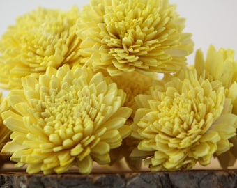 Lemon Yellow Zinnia Sola Flowers - SET OF 10 , Zinnias, Sola, Wood Sola Flowers, Zinnia Sola, Balsa Wood Flowers, Sola Wood Flowers
