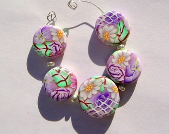 Purple Floral Window  Artisan Polymer Clay Bead Set with Focal and 4 Beads