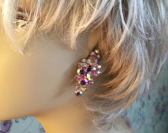 Aurora Borealis Pink Rhinestone Earrings