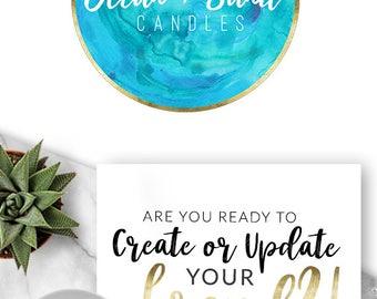 162 - Ocean & Sand, LOGO Premade Logo Design, Branding, Blog Header, Blog Title, Business, Boutique, Custom, Blue, Sea, Ocean, Wave, Aqua