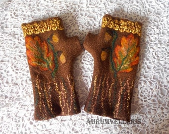 Felted Gloves READY TO SHIP Fingerless Gloves Felted Mittens Eco Friendly Fingerless Mittens Arm warmers Winter accessories for women