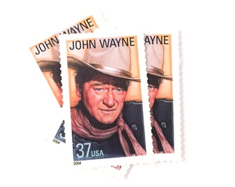 5 x John Wayne UNused 37 cents US Postage Stamps - American Cowboy - True Grit - Hollywood - for invites, mailing, crafting, card making