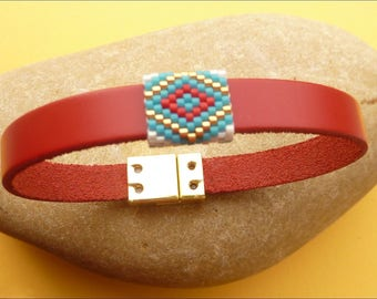Red leather bracelet with woven beads