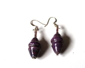 Purple Earrings, Ethnic Earrings, Drop Earrings, Eco Earrings, Everyday Earrings, Eco friendly Jewelry, Boho Earrings, Modern Earrings