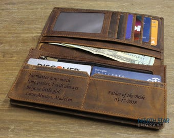 Husband gift Leather wallet, Mens Leather Wallet, Custom Leather wallet, Boyfriend gift, Mens Long Slim Wallet, BiFold wallet, Leather Mens