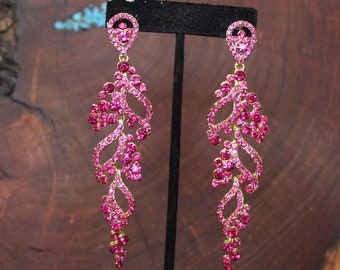 hot pink earrings, large fuchsia dangle earrings, long dangle hot pink earrings, large pageant earrings