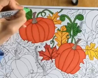 Coloring Page November Printable Digital Download (Adult Coloring Page)