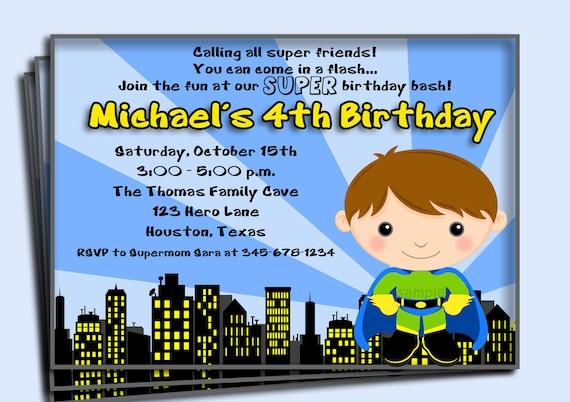 Superhero birthday invitation printable or printed with free stopboris Gallery