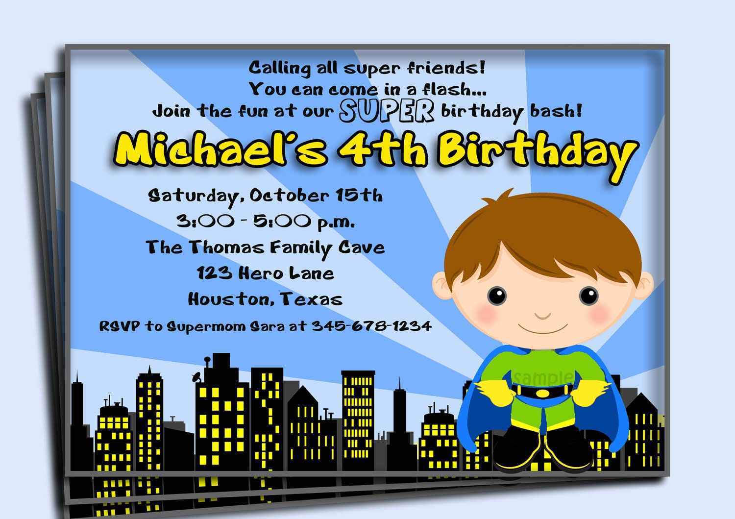 Superhero Birthday Invitation Printable or Printed with FREE