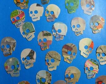 Tan and Red Stripe Skull Die Cuts