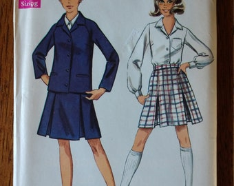 1969 Young Junior and Misses Jacket, Skirt, and Blouse by Simplicity  Pattern #8312 - Size 14