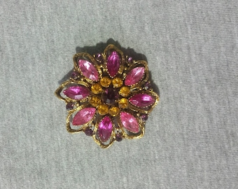 Retro Multi-Color Rhinstone Brooch/Pin