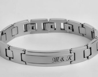 Personalized Silver Men's Bracelet High Polished With Brushed Inlay Engraved Free