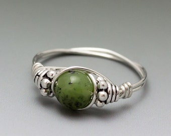 Nephrite Jade Bali Sterling Silver Wire Wrapped Bead Ring - Made to Order, Ships Fast!