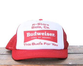 Vintage R-Store Biola California Liquor Store Budweiser Beer This Bud's For You Trucker Hat Snapback Baseball Cap