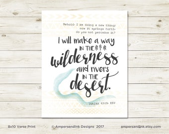 I will Make a Way - Isaiah 43, Inspiration for Life, Inspirational Print, Bible Quote Poster, Home Office, Home Decor, Typographic Design