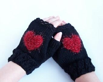 Mitaines en laine mitaines coeur pour femme adulte et ADO hiver amour Valentine day cadeau Chunky chaud et confortable de taille moyenne M L XL