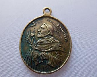Antique Bronze Medallion S.Domenico Rosarii Sakri Regina 19c