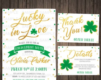 St Patricks Day Engagement Invitation Lucky In Love Irish Engagement Party Printable Bachelorette Party Invites Card Shamrock Wedding Shower