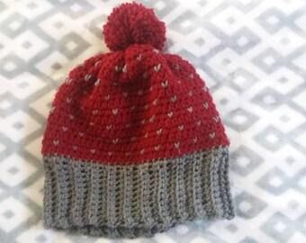 Slouchy heart beanie fair isle crochet beanie slouch