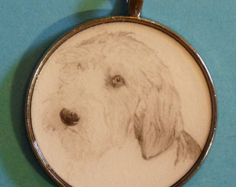 Petit Basset Griffon Vendeen PBGV Original Pencil Drawing Pendant with Organza Pouch -Choice of Necklaces -Free Shipping- Desert Impressions
