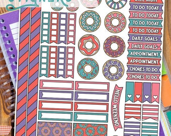 Fun Donut Stickers Planner Printable - Cute Doughnut Print and Cut Stickers