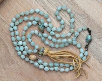 ZenHappy Heirloom Mala Bead Necklace with Tassel - Faceted Amazonite, Jasper, Pyrite and Handmade Lampwork; Boho Necklace; 108 Bead Mala
