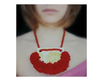 Statement clay necklace Pom Pom Necklace bib necklace boho chick unique jewelry gift for her Red necklace Collar Clay necklace knuckles