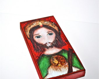 Saint Jude -  Giclee print mounted on Wood (3 x 6 inches) Folk Art  by FLOR LARIOS