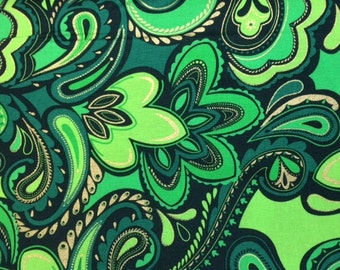 Kanvas DECK THE HALLS (Holiday Paisley - Green Modern) 100% Cotton Premium Fabric for Quilting - sold by 1/2 yard