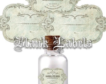 "Blank Labels,Printable Apothecary Labels, Vintage Bottle-Jars Labels,2 Size:(3,5"" x 2"")&(1.7"" x 3),Instant Download"
