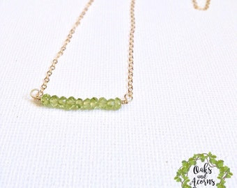 Peridot necklace - gold peridot necklace - 14k gold fill - dainty necklace - August birthstone necklace - beaded bar necklace - gift for her
