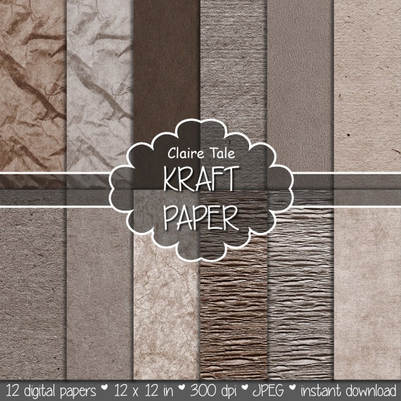 """Kraft digital paper: """"KRAFT PAPER"""" kraft textured papers in neutral colours for scrapbooking, invitations, cards, photo backgrounds"""