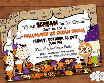 halloween invitation, halloween ice ceam social invitation, halloween party dessert invitation, halloween party invite -  DIY PRINTABLE