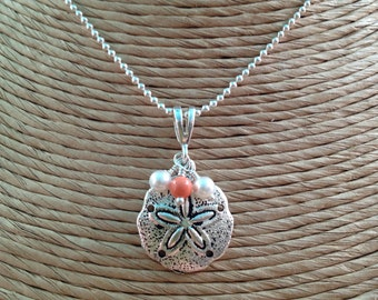 BEACHY Sand Dollar Pendant w/ White & Coral Pearl Dangles - SS Ball Necklace - Beach Charm - Swarovski Crystal Pearl - Any Size - USA Made
