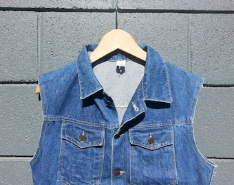 Vintage Cutoff Sleeveless Blue Denim Vest