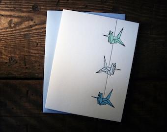 Letterpress Printed String of Cranes Card (Turquoise-Light Blue-Medium Blue) - single