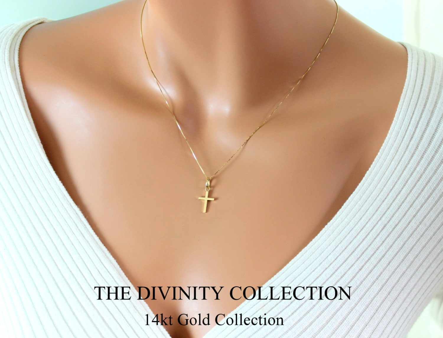 Gold cross necklace women images gold cross necklace women images 14kt solid gold cross necklace women simple small charm jpg aloadofball Images
