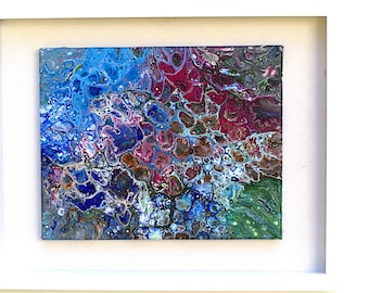 Original Fine Art Painting Abstract Titled: Reef #1 - Acrylic Painting on canvas, 8 x 10 inches, wrapped canvas in a 12x16 shadow box frame