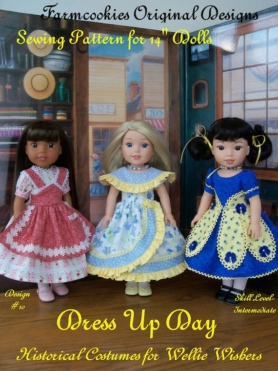 "XL Wellie Wisher® Size PDF Sewing Pattern: Dress Up Day / Historical Pattern fits   14"" American Girl  Wellie Wishers® an Glitter Girls"