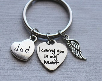 Dad - I Carry You In My Heart Keychain, Dad Memorial, Dad Sympathy, Dad Memorial Gifts, Dad Sympathy Gifts, Remembrance Dad Gifts, Dad, Gift