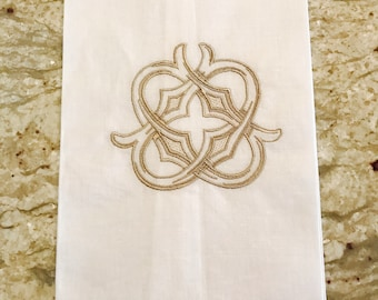 White Linen Hemstitch Guest Towel with Gothic Interlocking Single Letter Monogram