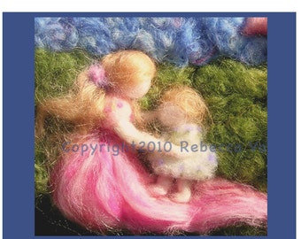 Printed Note Card - First Steps-image from wool painting -  Waldorf inspired greeting card