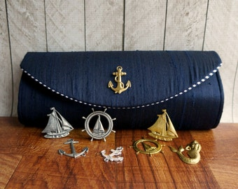 Navy blue silk nautical clutch, navy blue clutch purse, nautical wedding, bridesmaid bags, silver or gold embellishment