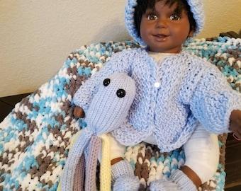 Hand knit newborn baby boy set.