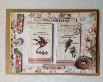 Double card, made hand 3D, birds, spirit cabinet of curiosity, anniversary, all occasions, bird nest, natural science, ornithology