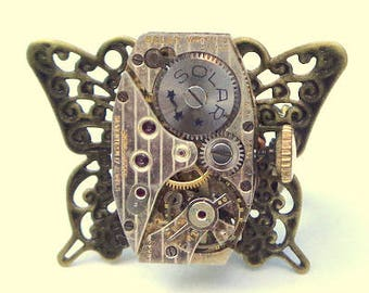 Working Movement, Steampunk Ring, Ruby Jeweled, Vintage Watch Movement, Butterfly Ring, OOAK