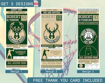 Milwaukee Bucks Birthday Invitation, Printable Ticket Party Invitation, Basketball Personalized Birthday Invite, Digital Files