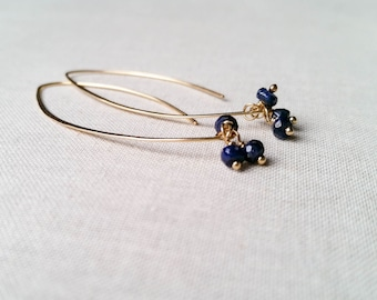 Sapphire and 14k Gold Fill Modern Drop Earrings - Hammered Yellow Gold Fill Unique Long Artisan Simple Elegant Blue Sapphire Fine Jewelry
